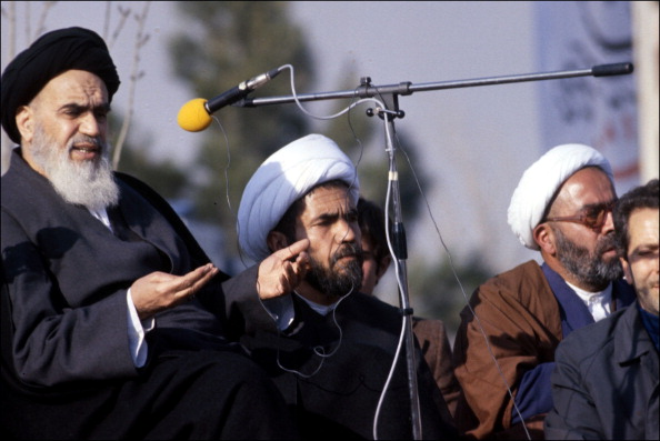 IRAN - JANUARY 01:  Ayatollah Khomeini in Iran in 1979.  (Photo by Alain MINGAM/Gamma-Rapho via Getty Images)
