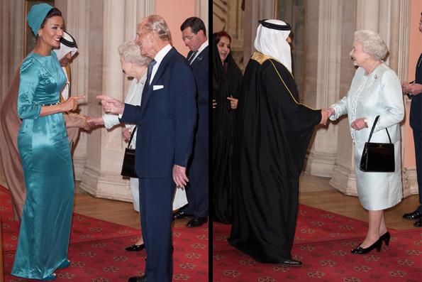 Emir Qatar dan Bahrain bersama istri bertemu Elizabeth