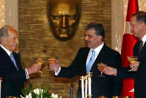 Shimon Peres bersama Abdullah Gul dan Erdogan